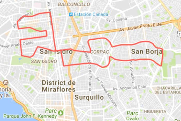 Movistar Lima 21K 2018 Mapa Ruta