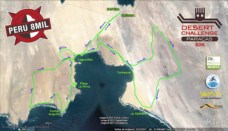 VI Perú 8mil Desert Challenge Paracas 50K Mapa Ruta