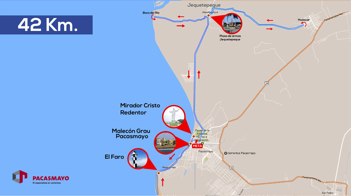 Maratón Pacasmayo 42k 2018 Mapa Ruta