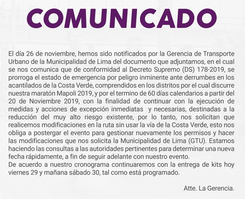 Comunicado Mapoli42K