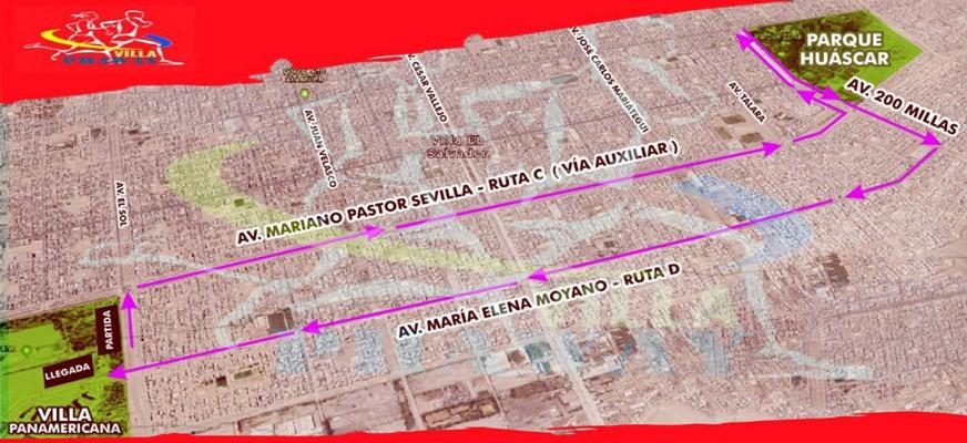 V Carrera Nacional 10K Vuelta a Villa El Salvador 2019 Mapa Ruta