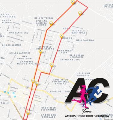 I Media Maratón de Chincha 10K Mapa Ruta